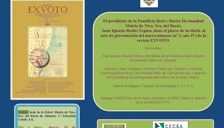 Acto de presentación del próximo número de la revista de investigación EXVOTO Nº 3