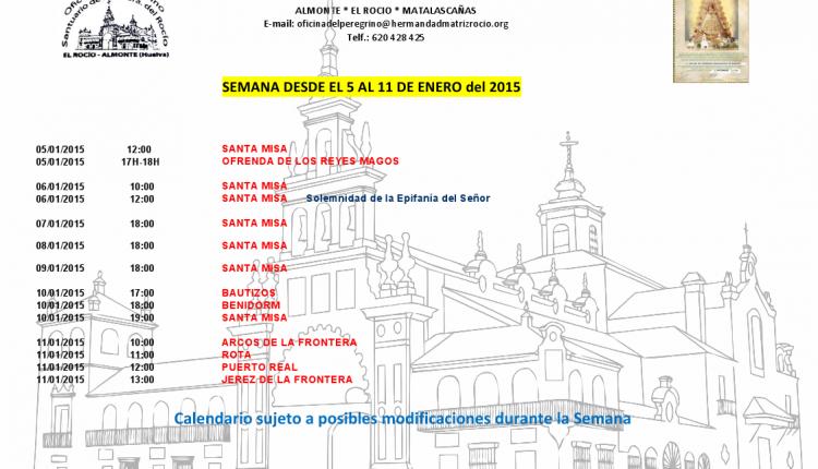 Calendario semanal de peregrinaciones al Santuario del Rocío