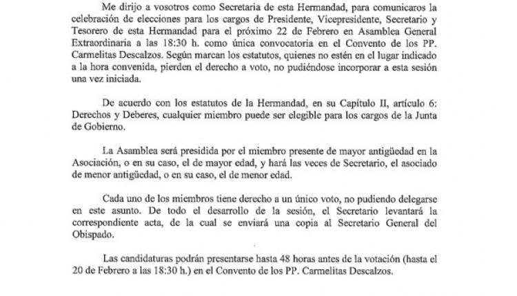 Hermandad de Medina del Campo – Celebración de elecciones