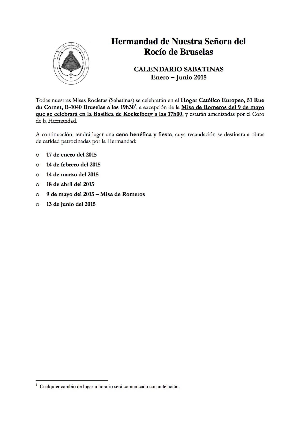 Calendario de Sabatinas -Enero-Junio 2015