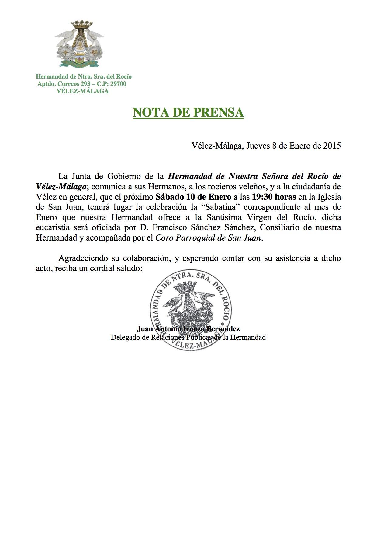 Nota de Prensa Sabatina4
