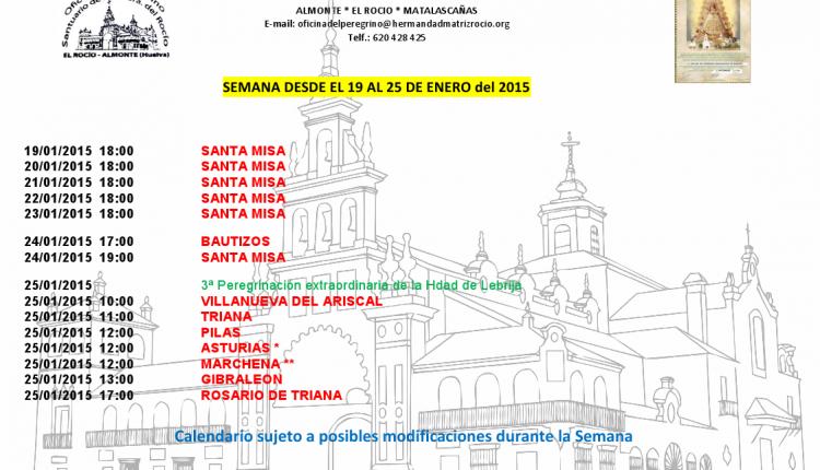 Calendario semanal de peregrinaciones al Santuario del Rocío del 19 al 25 de enero