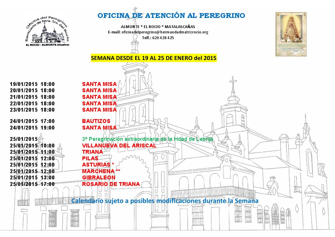 calendario peregrinaciones del 19 al 15