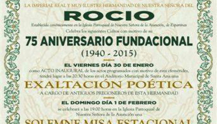 Hermandad de Espartinas – Calendario de Actos por el 75 aniversario