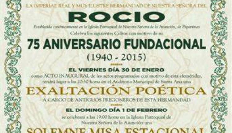 Hermandad de Espartinas – Calendario de Actos por el 75 aniversario