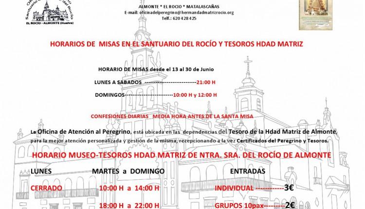 Nuevo horario de Misas en el Santuario del Rocío del 13 al 30 de junio de 2015