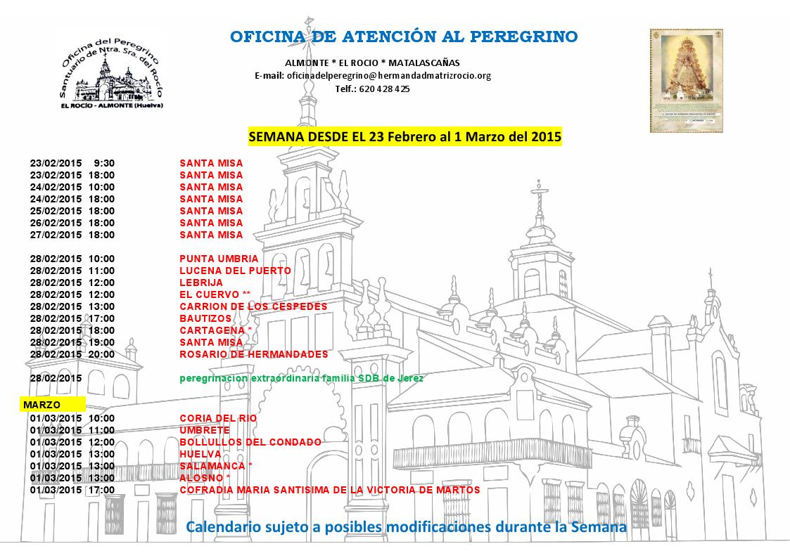 Calendario peregrinaciones 23-02 al 01-03-2015