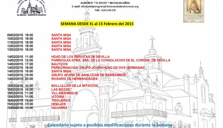 Calendario semanal de Peregrinaciones del 9 al 15 de febrero