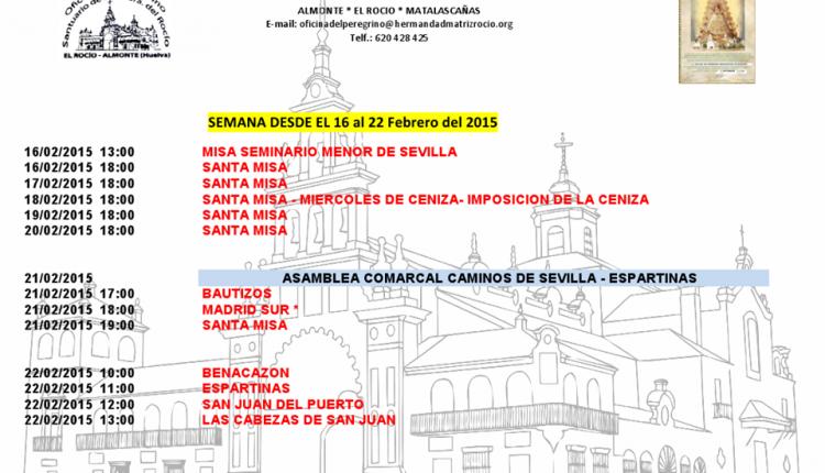 Calendario Semanal de Peregrinaciones del Santuario del Rocío del 16 al 22 de febrero de 2015