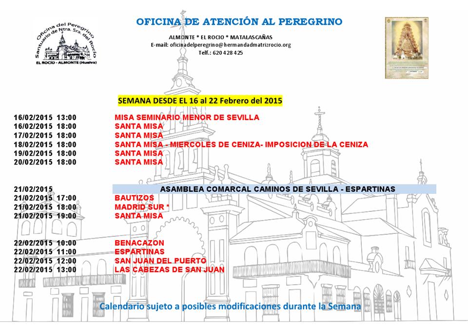 calendario de peregrinaciones del 16 al 22 de febrero 2015