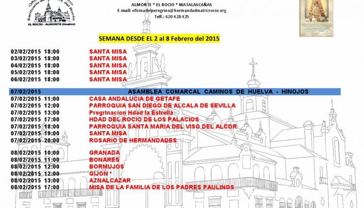 Calendario semanal de peregrinaciones al Santuario del Rocío del 2 al 8 de febrero de 2015