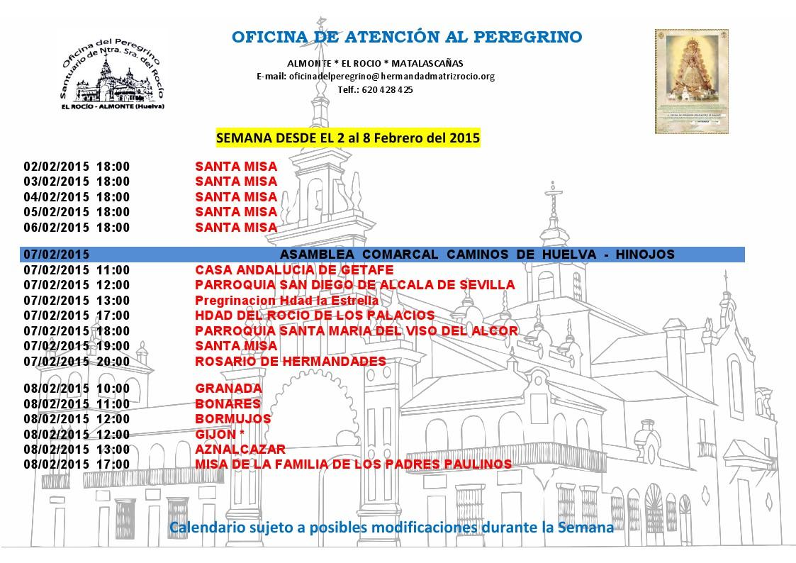 calendario peregrinaciones 2 al 8 febrero 2015