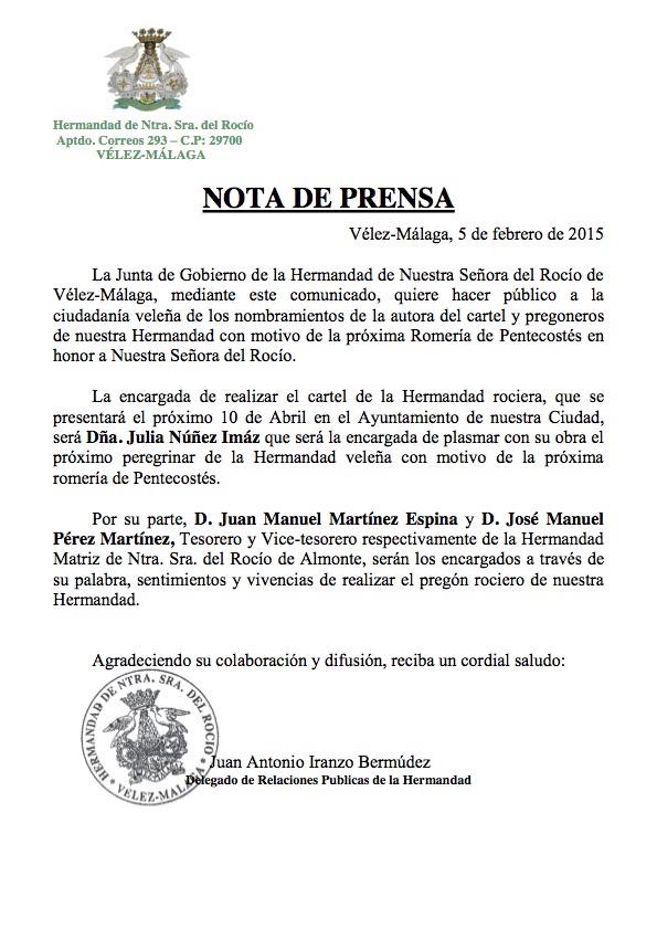 velez Malaga Cartel y Pregonero2015