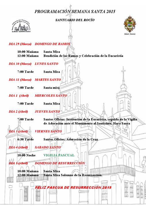 Santuario Rocio programación semana santa 2015