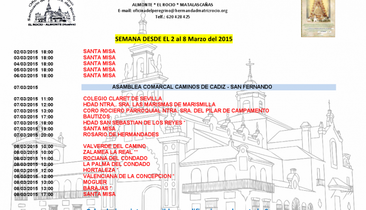 Calendario de Peregrinaciones del 2 al 8 de marzo de 2015