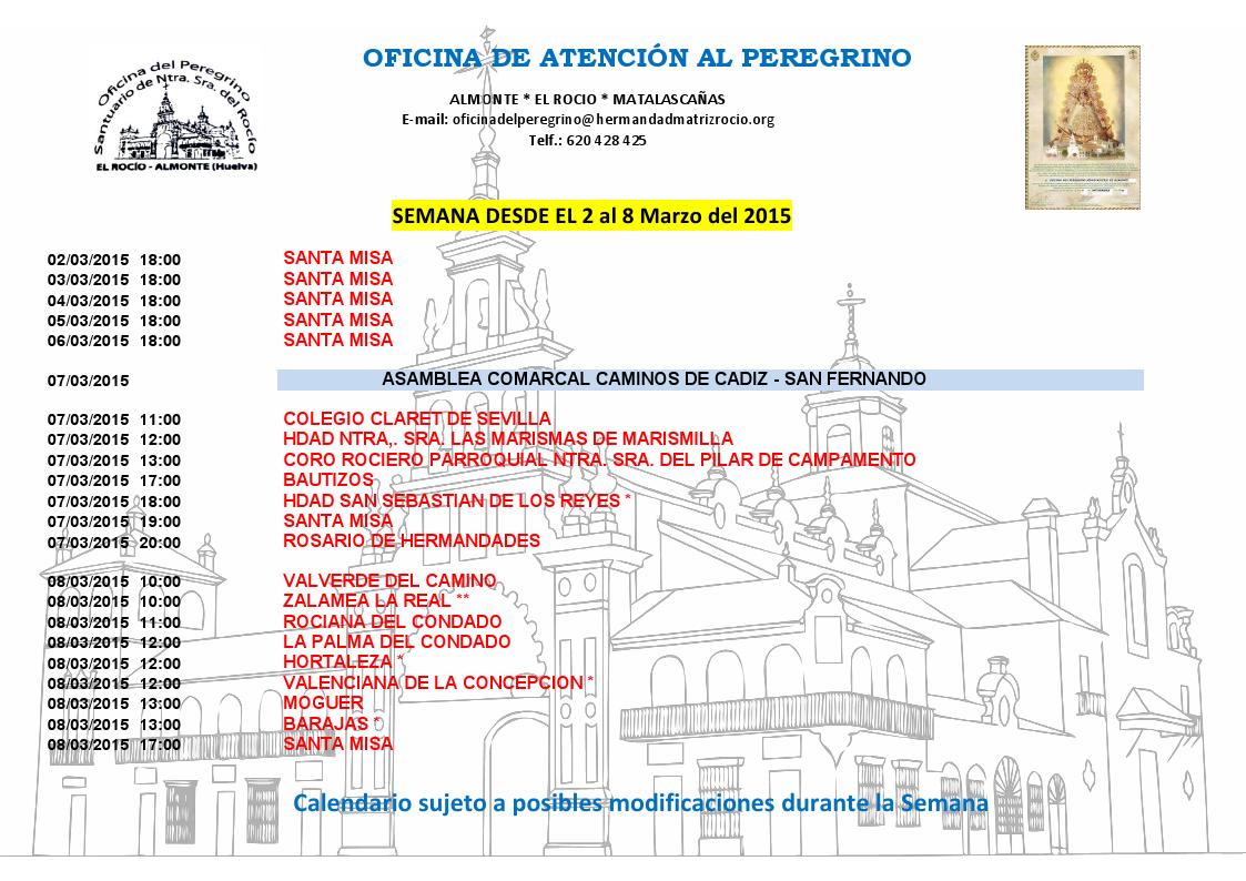 calendario del 2 al 8 de marzo 2015