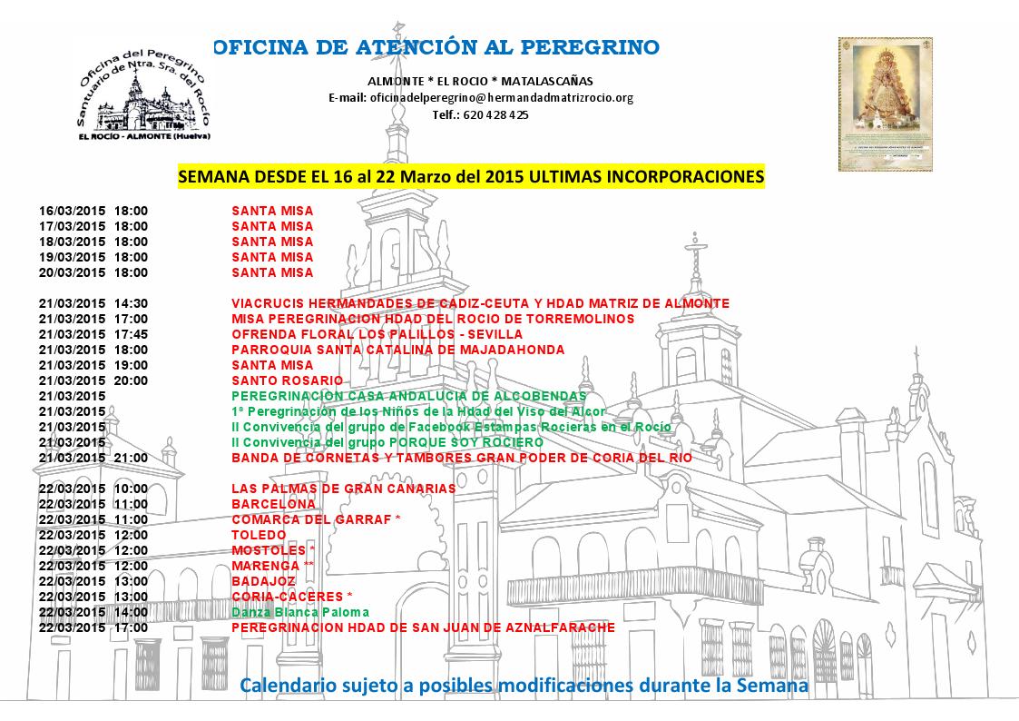 calendario rocio 16-22-marzo-2015