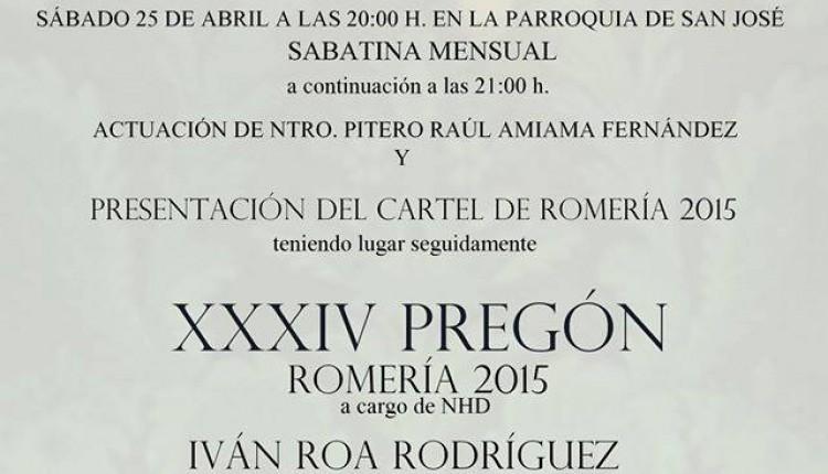 Hermandad de Cádiz – Cartel y XXXIV Pregón Rociero 2015 a cargo de D. Iván Roa