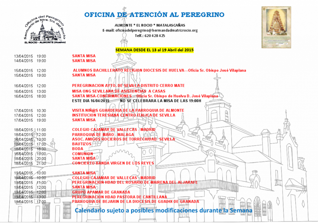 Calendario 13 a19 de abril 2015