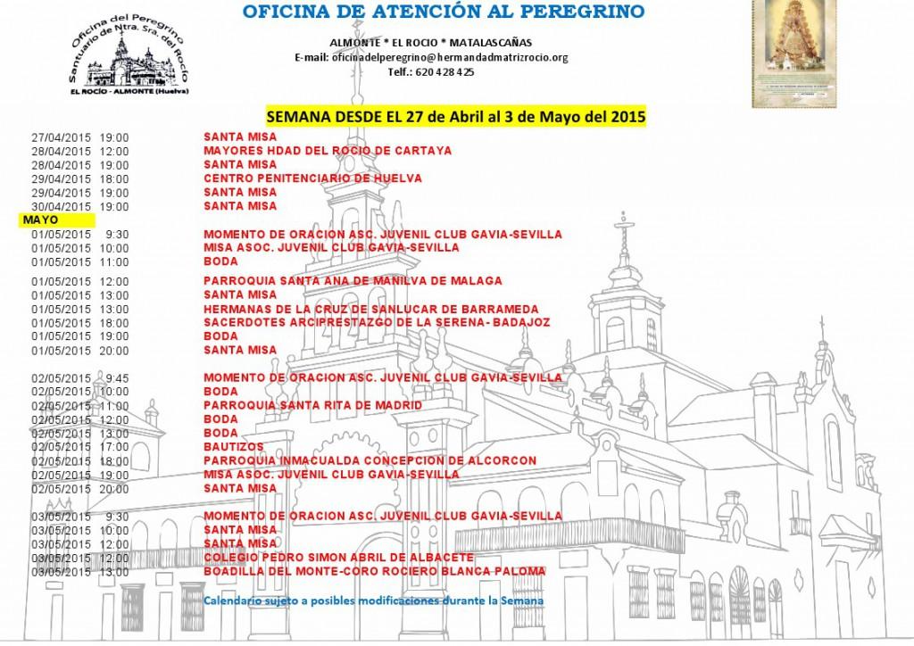 Calendario 27-04 al 3-05 de 2015