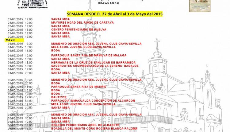 Calendario semanal de Peregrinaciones al Rocío del 27 de abril al 3 de mayo de 2015