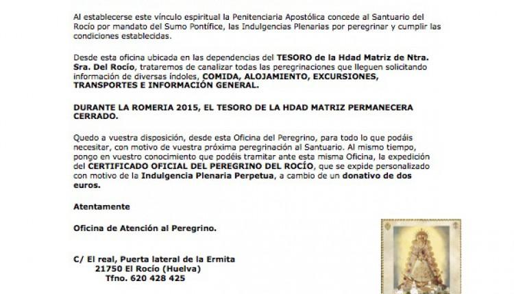 Información de la Oficina de Atención al Peregrino Romería 2015