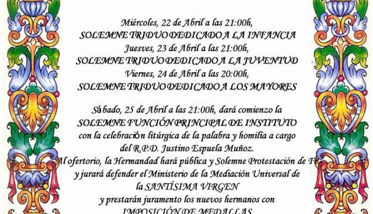 Hermandad de Chucena – Solemne Triduo 2015 y XXI Pregón Rociero a cargo de José Fdo. Garrido