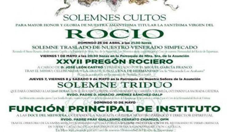 Hermandad de Espartinas – Solemne Triduo y XXVII Pregón Rociero a cargo de D. José León Castro