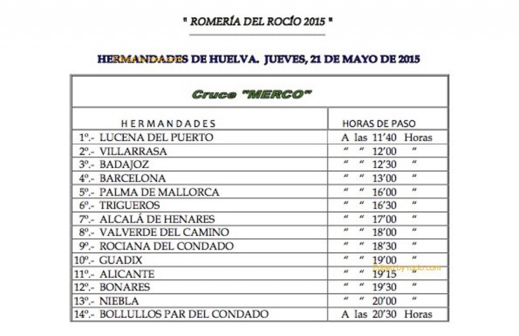 HORARIOS DE PASO ROMERIA 2015-10