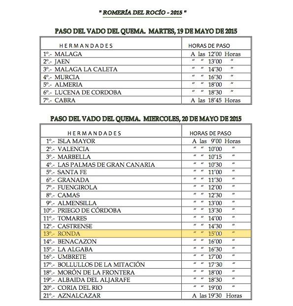 HORARIOS DE PASO ROMERIA 2015-1