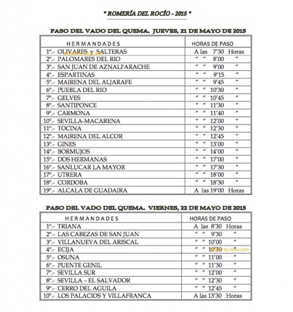HORARIOS DE PASO ROMERIA 2015-2