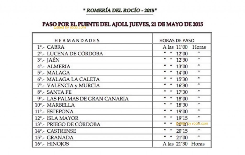HORARIOS DE PASO ROMERIA 2015-3