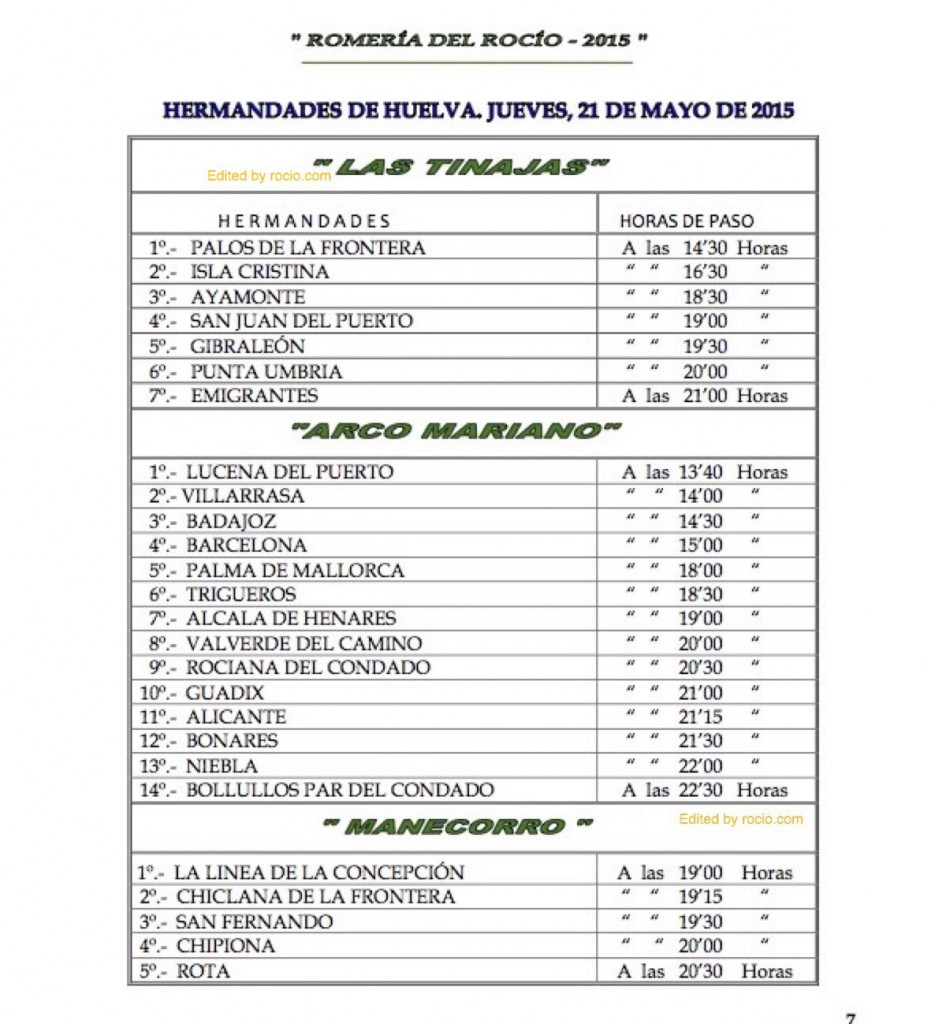 HORARIOS DE PASO ROMERIA 2015-8