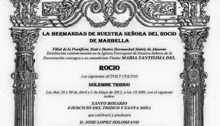La Hermandad de Marbella – Solemne Triduo 2015