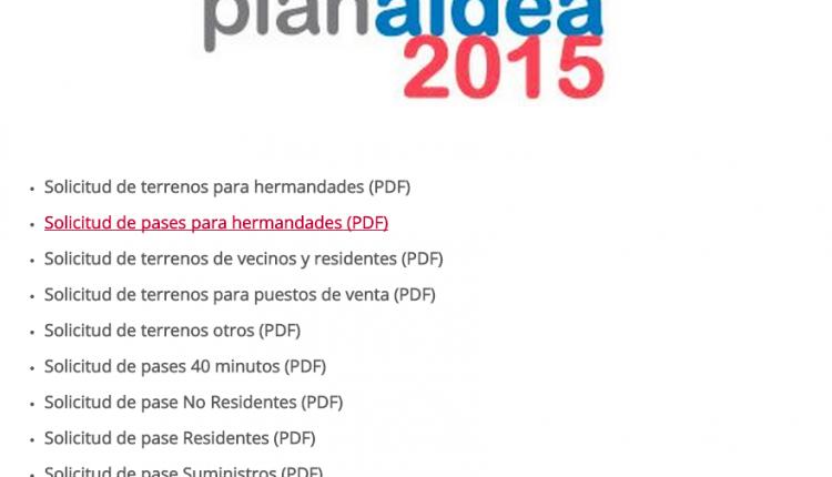 Plan Aldea 2015 – Solicitud de terrenos y Pases de vehículos