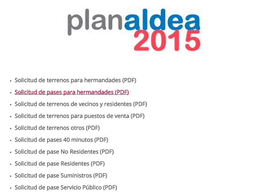 Plan Aldea 2015