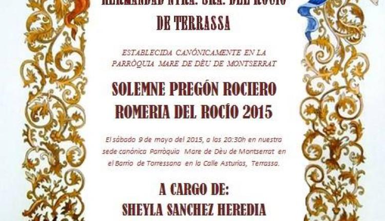 Hermandad de Terrassa – Sheyla Sanchez Heredia dará el Pregón 2015