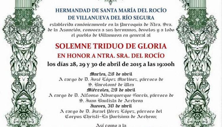 Hermandad Del Rocío Villanueva Del Río Segura – Solemne Triduo