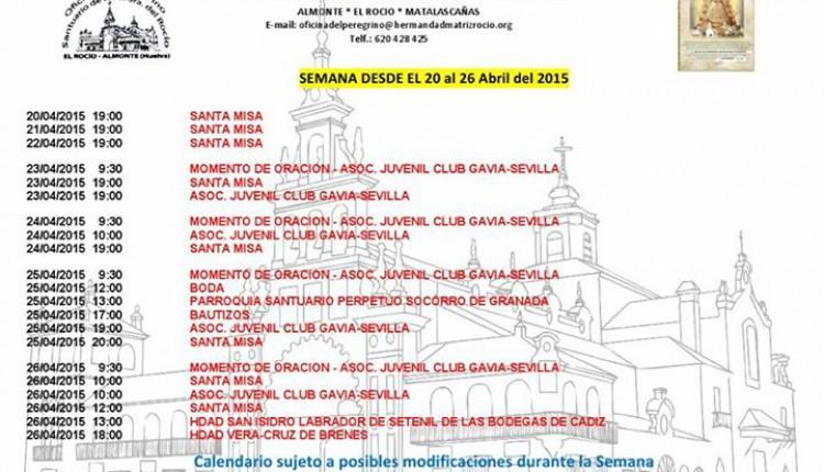 Calendario de Peregrinaciones al Rocío del 20 al 26 de abril de 2015