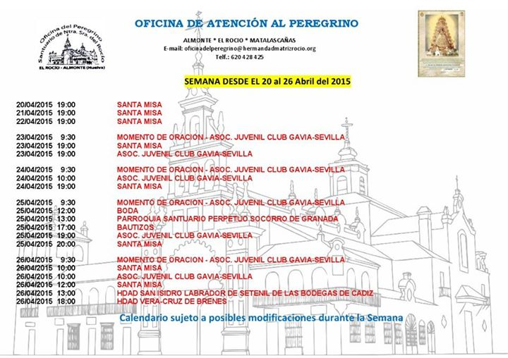 calendario peregrinaciones 20-26-abril-2015