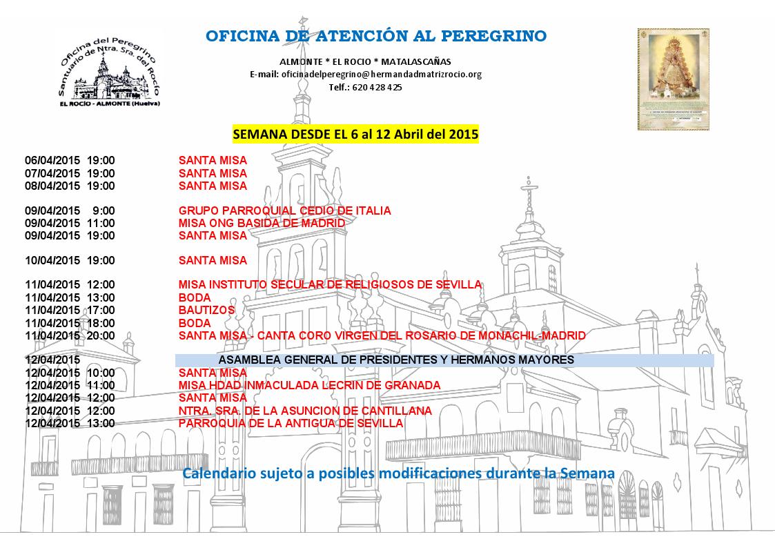 calendario peregrinaciones 6 al 12:04-2014