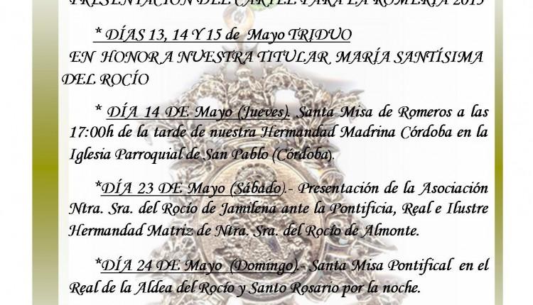 Asociación de Jamilena – Cultos y Actos mayo y junio 2015