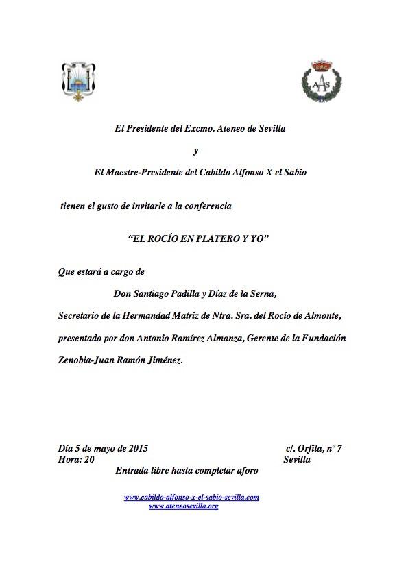 Ateneo Conferencia El Rocío en Platero y yo. 5 mayo 2015. Santiago Padilla