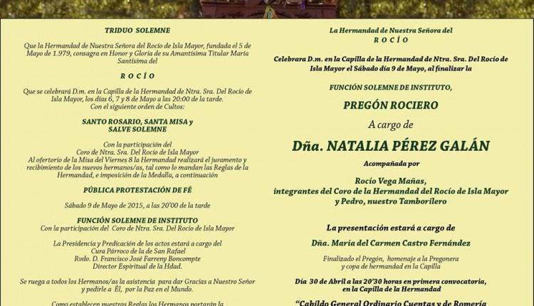 Hermandadde Isla Mayor – Solemne Triduo y Pregón Rociero a cargo de Dña. Natalia Pérez Galán