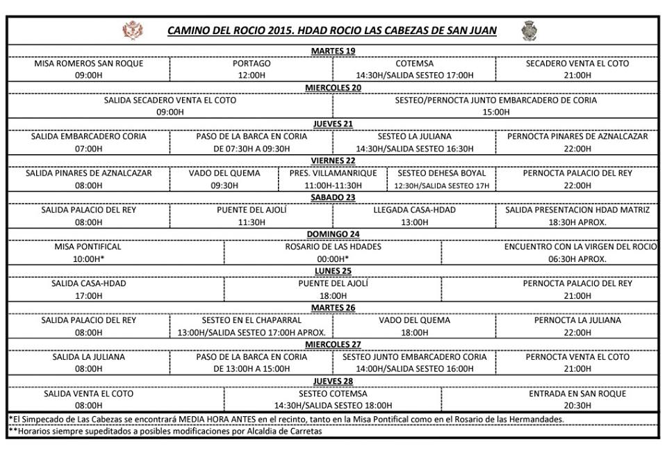 Las Cabezas - itinerarios rocio 2015