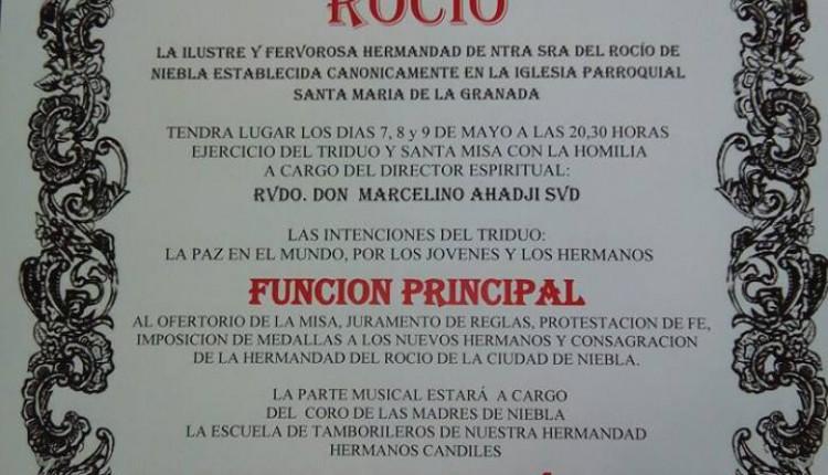 Hermandad de Niebla – Solemne Triduo 2015 y Pregón Rociero a cargo de D. Mateos García Pérez.