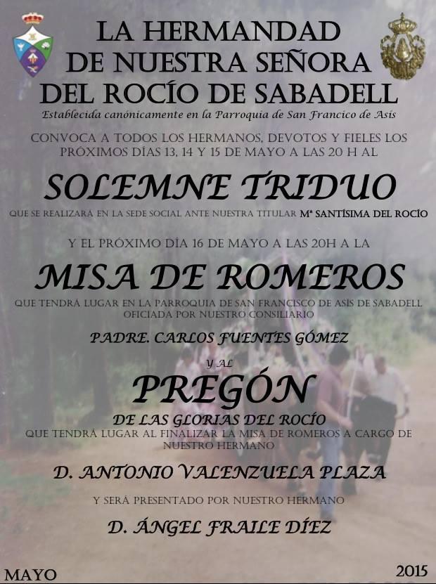 Sabadel cartel rocio 2015 -2