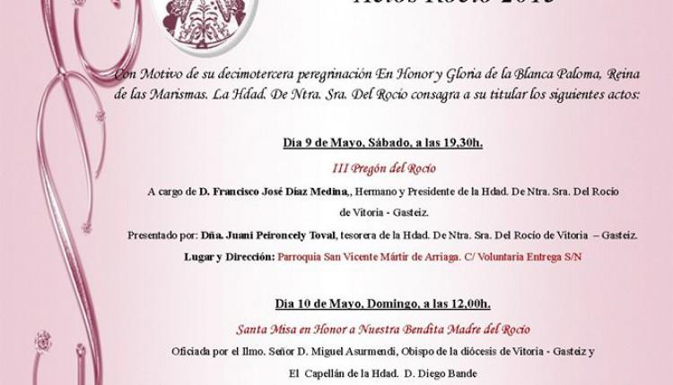 Hermandad de Vitoria – Gasteiz – Programa de Cultos Rocío 2015
