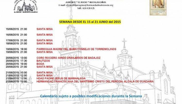 Calendario de Peregrinaciones al Santuario del Rocío del del 15 al 21 de junio de 2015