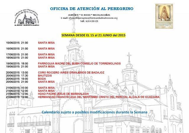 Calendario del 15 al 21 de junio 2015
